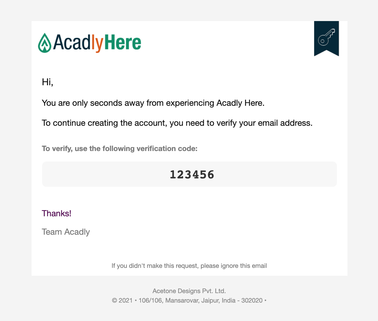 Image: Acadly Here Verification Code on Email