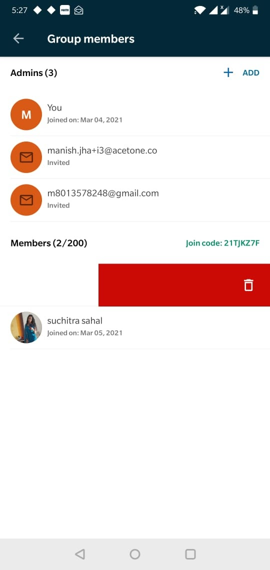 Image: Group home screen swipe left