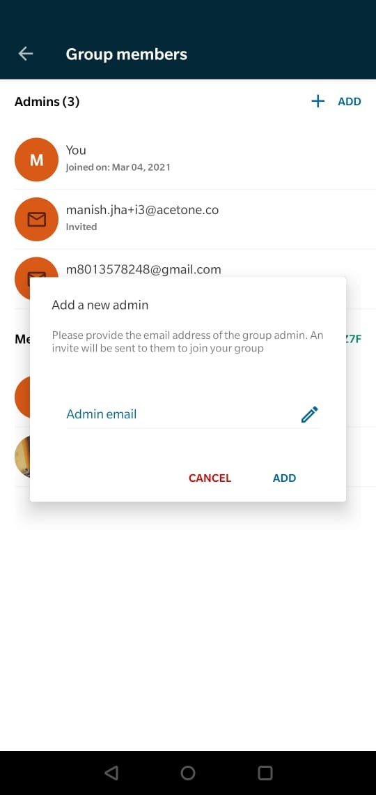 Image: Popup to enter email id for adding new admin