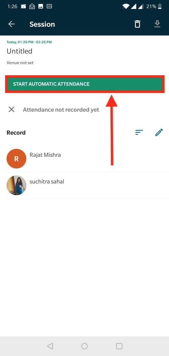 Image: Start Attendance button